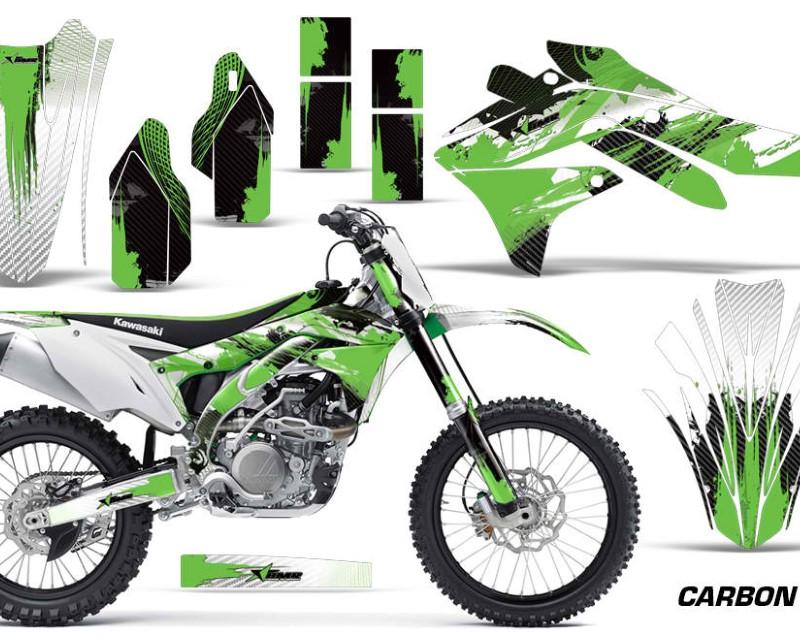 AMR Racing Dirt Bike Decal Graphic Kit Sticker Wrap For Kawasaki KXF450 2016-2018 CARBONX GREEN