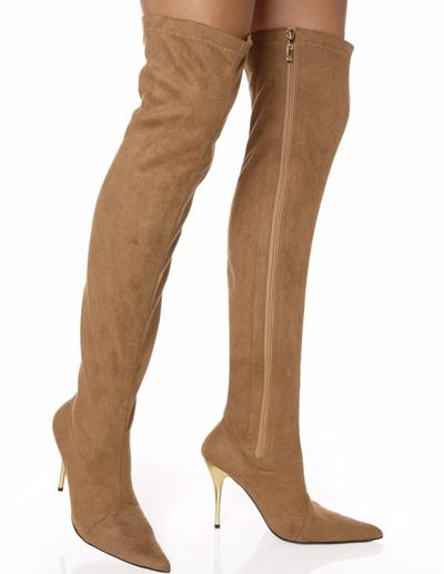 Milanoo Botas altas mujer marron claro  Zapatos con cremallera Botas de tacon de stiletto de puntera puntiaguada 10cm Invierno para fiesta sexy