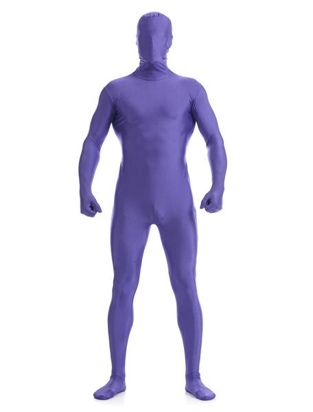Milanoo Purple Zentai Suit Adults Morph Suit Full Body Lycra Spandex Bodysuit for Men