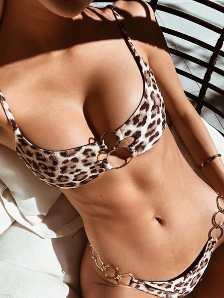 Milanoo Women Two Piece Swimsuits White Leopard Print Metal Details Straps Neck Summer Beach Bathing Suits