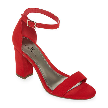 Worthington Womens Beckwith Heeled Sandals, 8 1/2 Wide, Red
