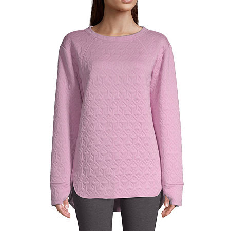 St. John's Bay Active-Tall Womens Crew Neck Long Sleeve Tunic Top, Small Tall , Pink