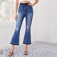 Raw Hem Ripped Flare Leg Jeans