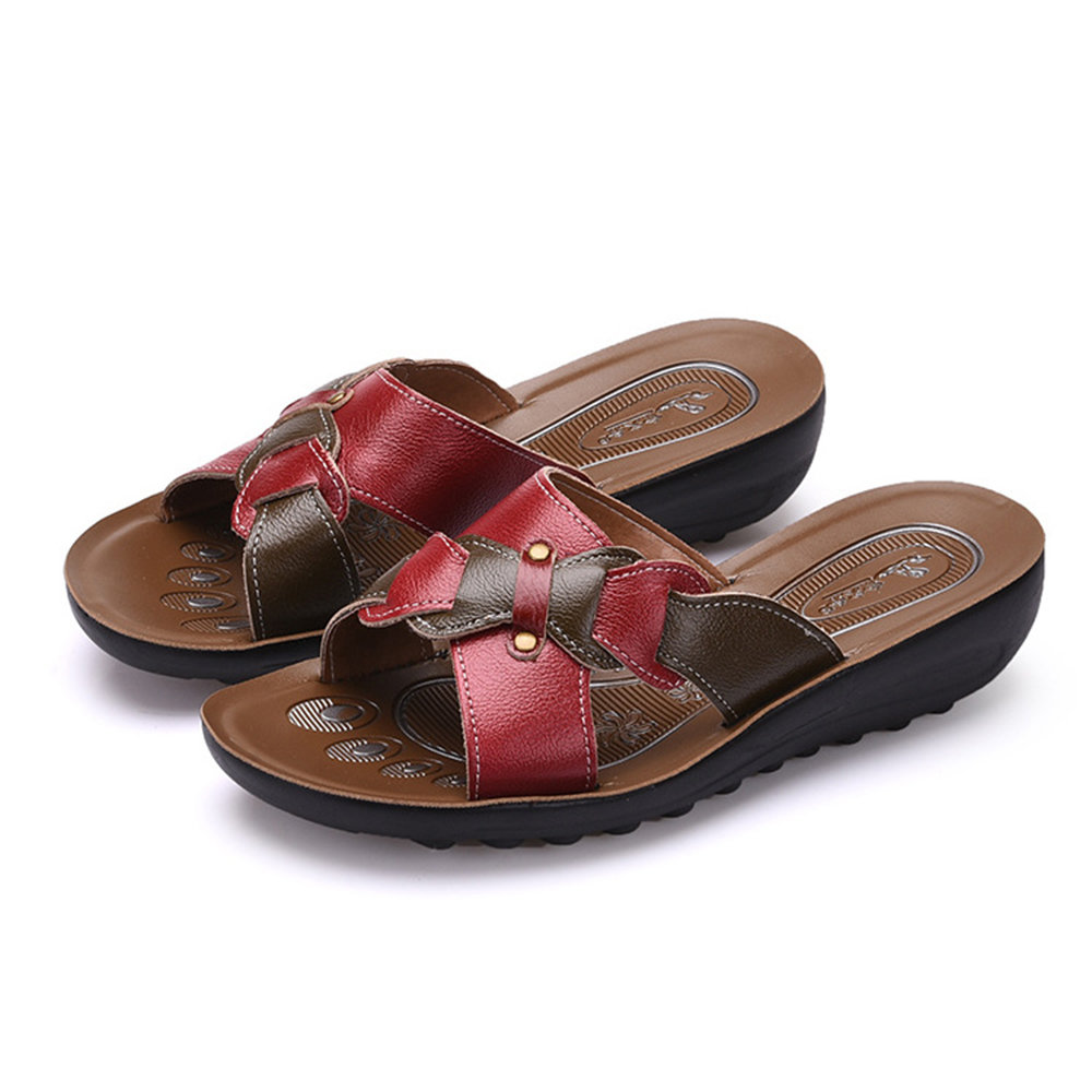Bow Leather Button Flat Sandals