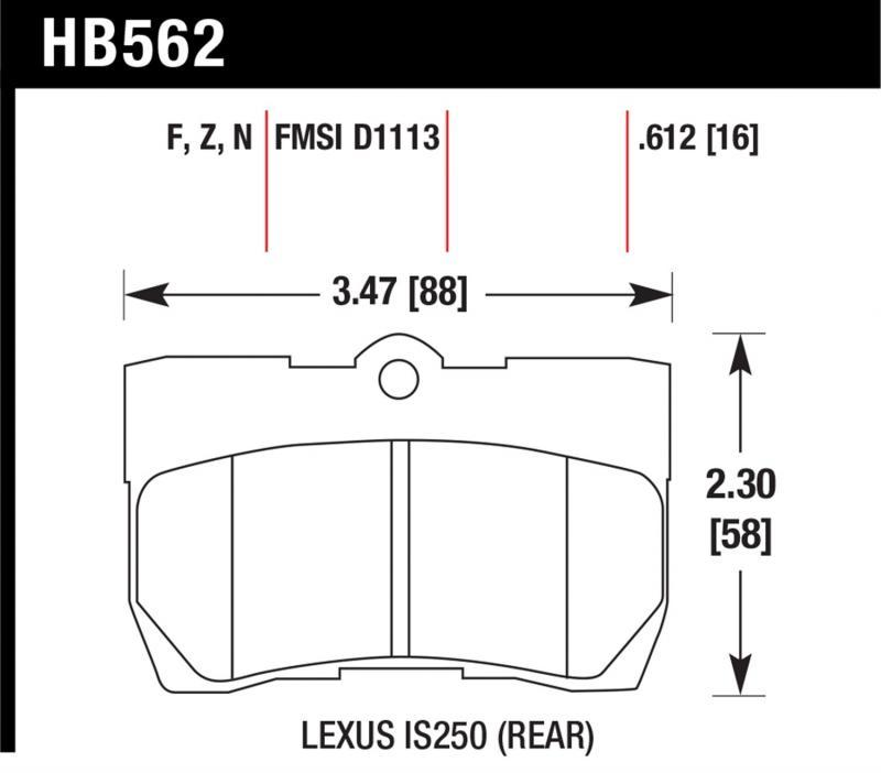 Hawk Performance HB562F.612 Disc Brake Pad Lexus Rear