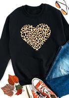 Leopard Heart Pullover Sweatshirt - Black