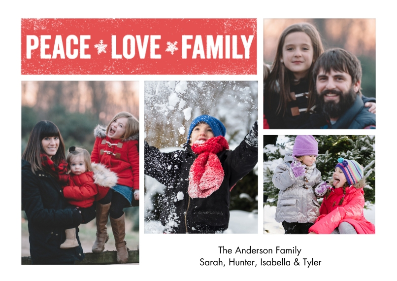 Christmas Photo Cards 5x7 Cards, Premium Cardstock 120lb, Card & Stationery -Holiday Peace Love Family