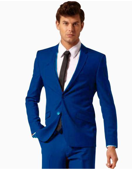 Mens 2 Button Style Wool and Cotton Suit Flat Front Pants Royal Blue