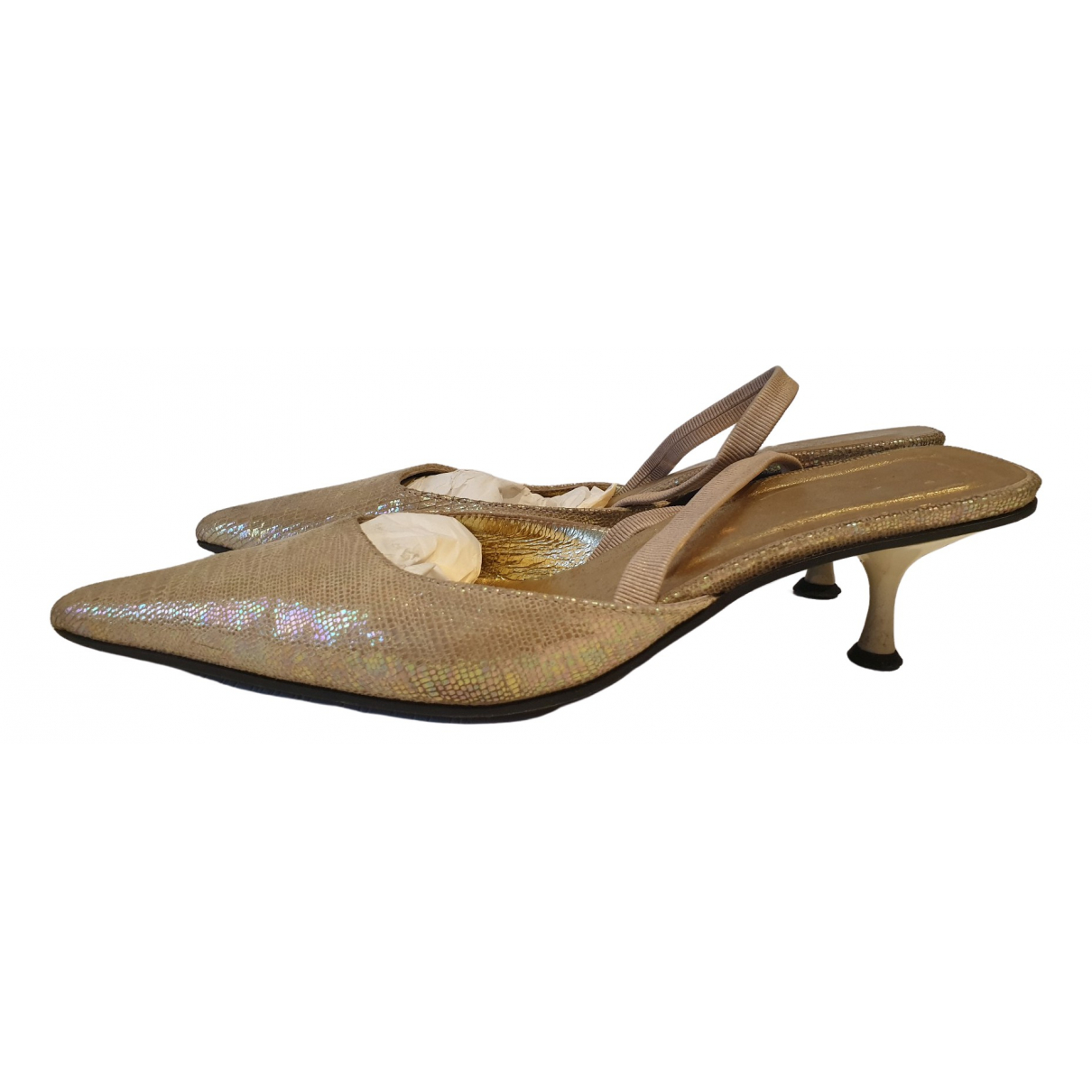 Just Cavalli \N Gold Leather Heels for Women 38 IT