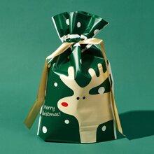 1pc Christmas Deer Pattern Gift Bag