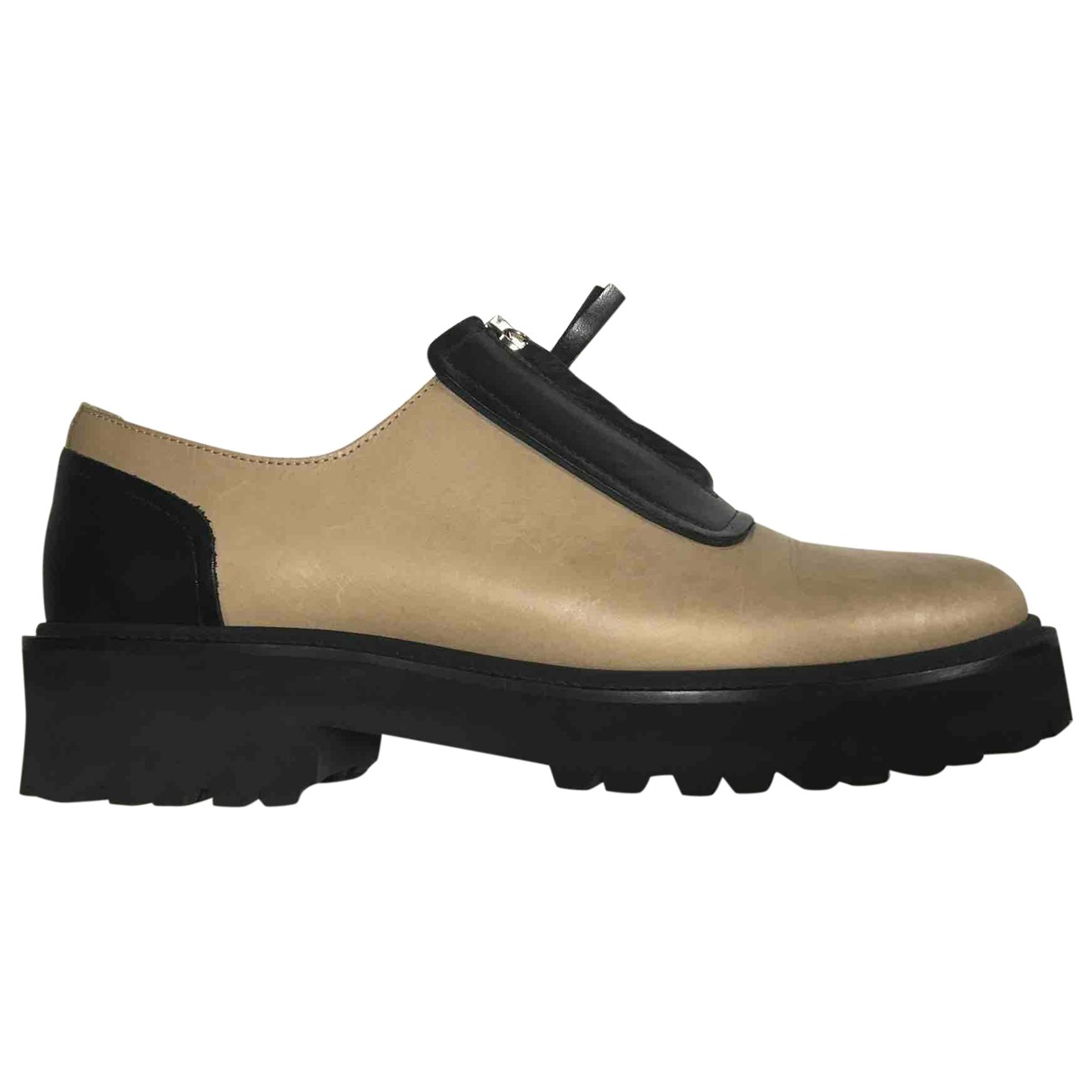 Mm6 \N Black Leather Flats for Women 38 EU