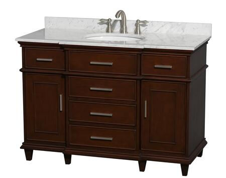 WCV171748SCDCMUNRMXX 48 in. Single Bathroom Vanity in Dark Chestnut with White Carrera Marble Top with White Undermount Oval Sink and No