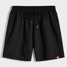 Schwarz Ziehbaendchen Preppy Maenner Shorts