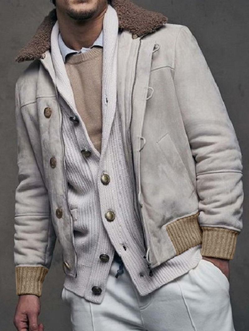Ericdress Color Block Lapel Thick Slim Men's Jacket