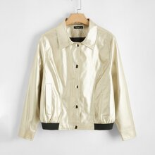 Plus PU Leather Button Front Jacket