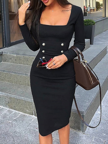 Yoins Front Button Square Neck Long Sleeves Midi Dress