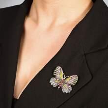 Brosche mit Strass & Schmetterling Design