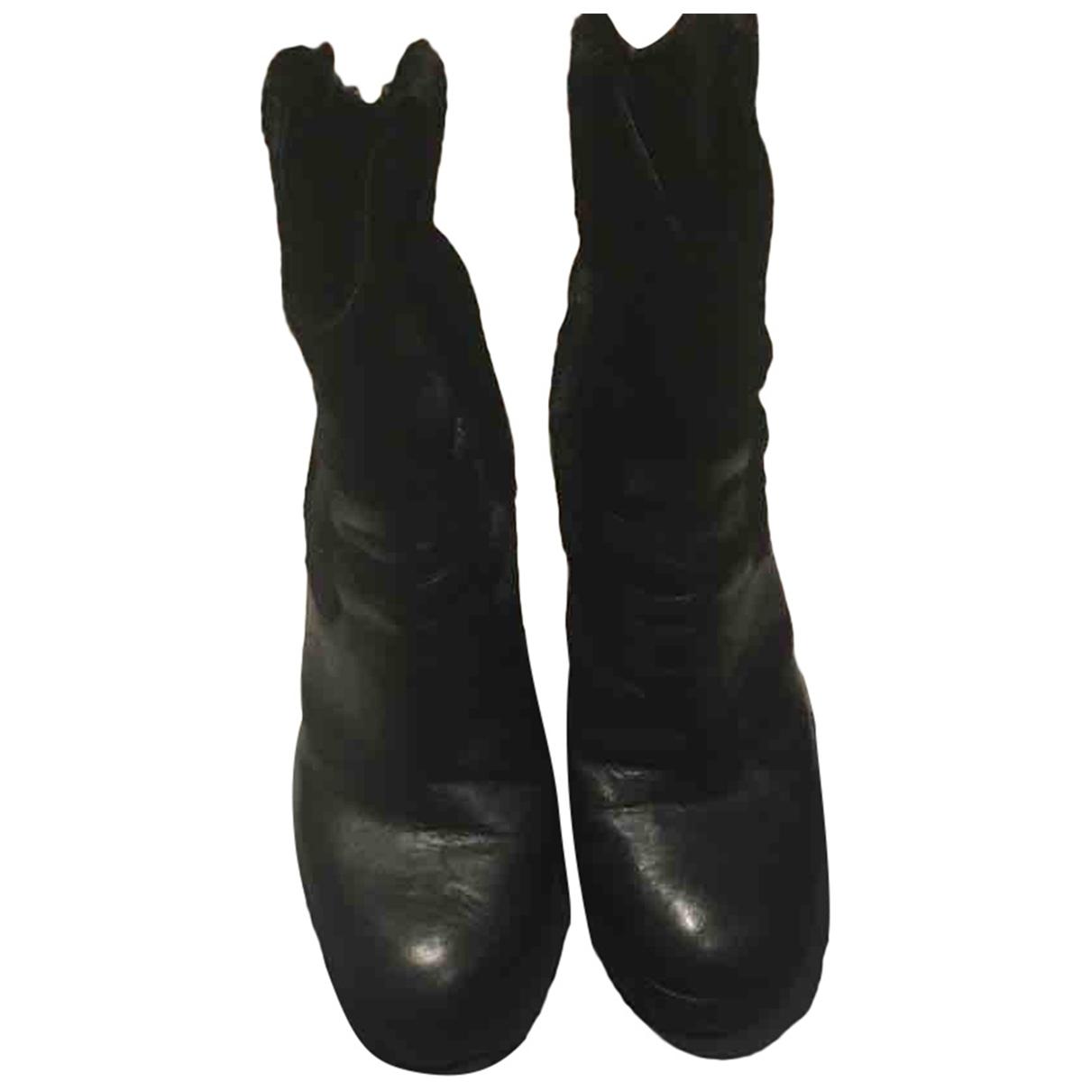 Hogan - Boots   pour femme en veau facon poulain - noir