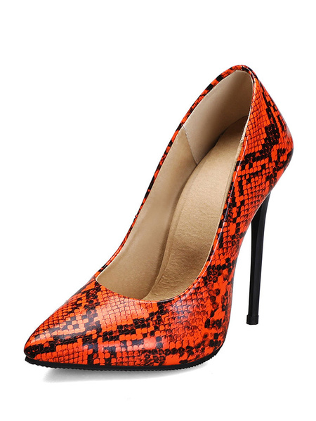 Milanoo Zapatos de tacon alto para mujer Zapatos de punta puntiaguda Tacon de aguja con estampado de serpiente Zapatos de talla grande sexy