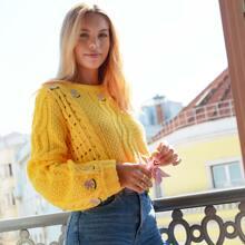 Strick Pullover mit Blumen & Zopf Muster