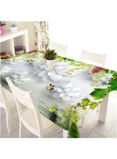 3D White Flowers and Flying Butterfly Printed Thick Polyester Table Cover Cloth
