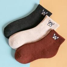 3 pares calcetines con patron de animal