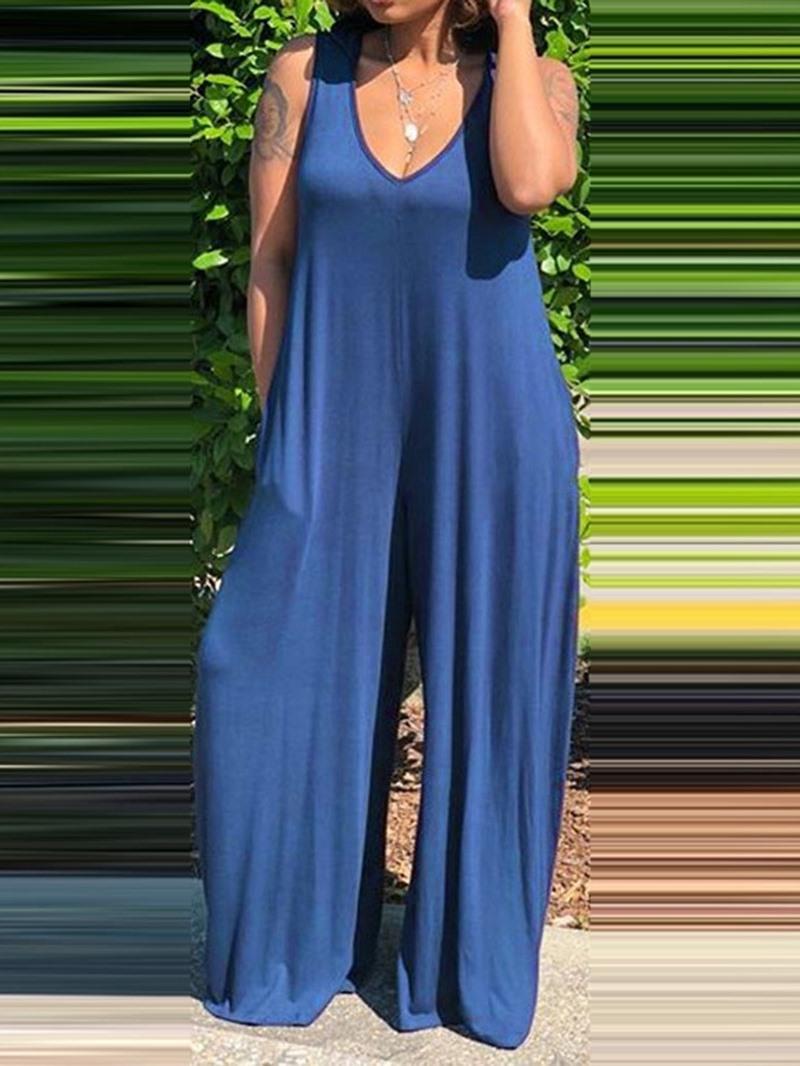 Ericdress Casual Plain Full Length Wide Legs Loose Jumpsuit