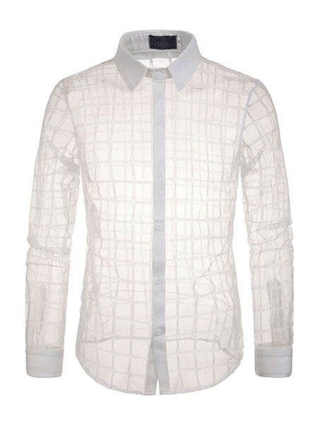 Milanoo Casual Shirt Men Sheer Mesh Plaid Turndown Collar Shirts