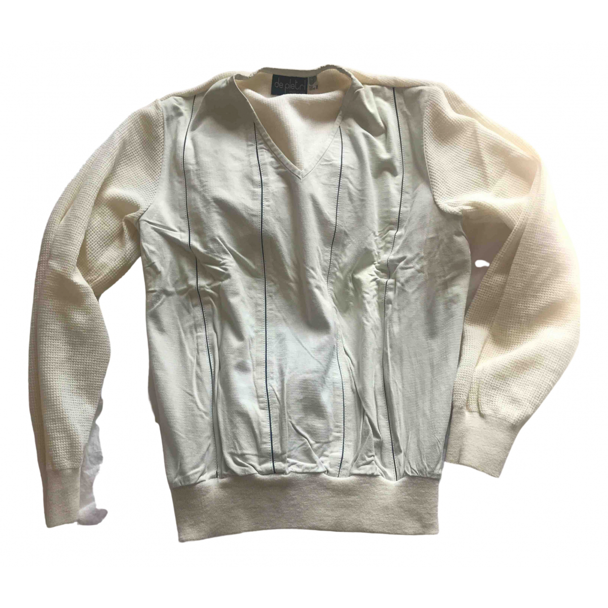 Non Signé / Unsigned N White Leather Knitwear & Sweatshirts for Men 50 IT