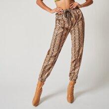 Pantalones PU de piel de serpiente de cintura con cordon