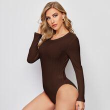 Rib-knit Solid Tee Bodysuit