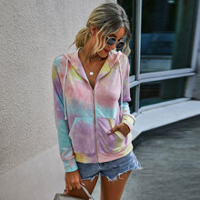Tie Dye Kangaroo Pocket Zip-up Hooded Jacket