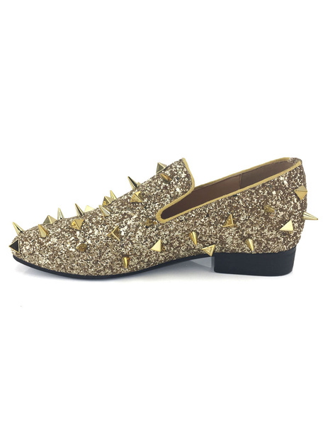 Milanoo Gold Sequined Men Loafers Metallic Slip On Spike Shoes Party Shoes