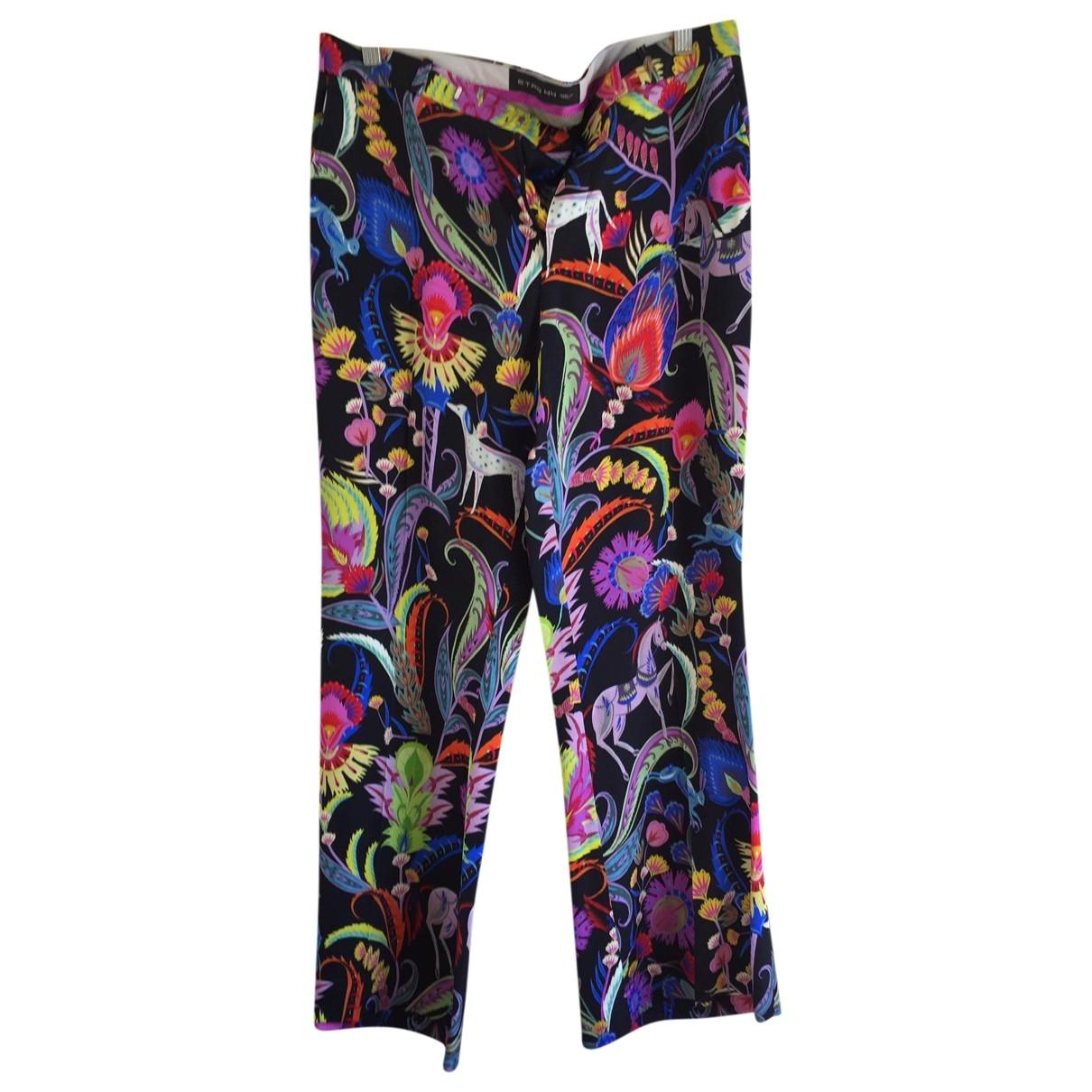 Etro \N Multicolour Silk Trousers for Women 44 IT