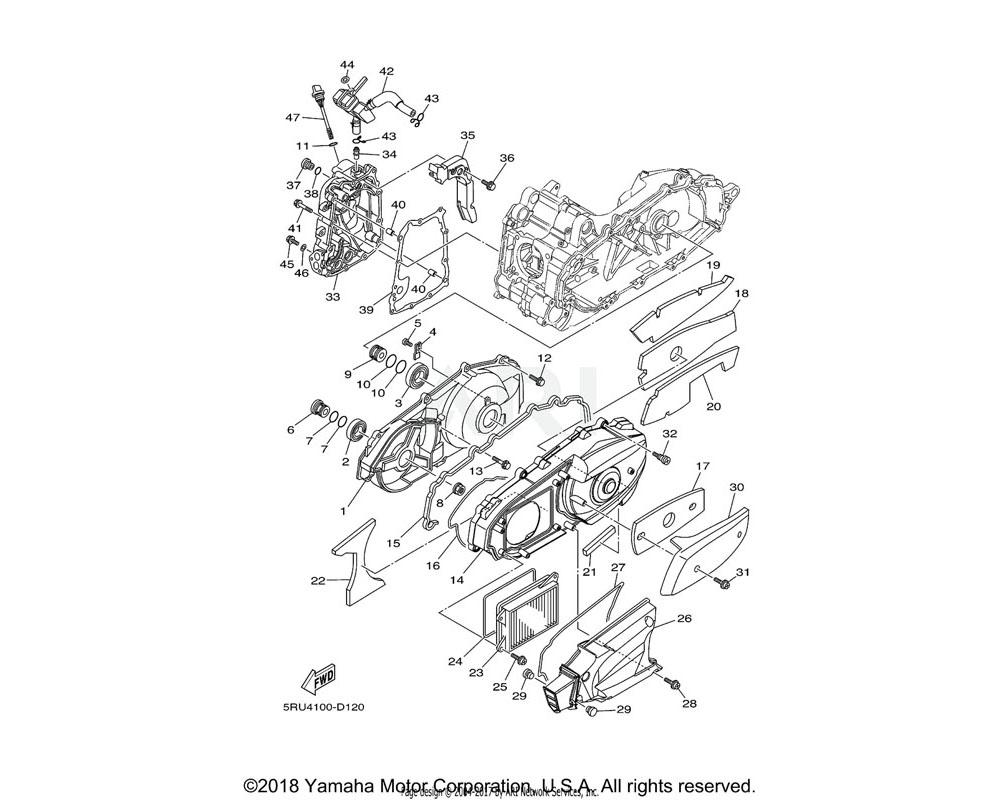 Yamaha OEM 5RU-15411-01-00 COVER, CRANKCASE 1