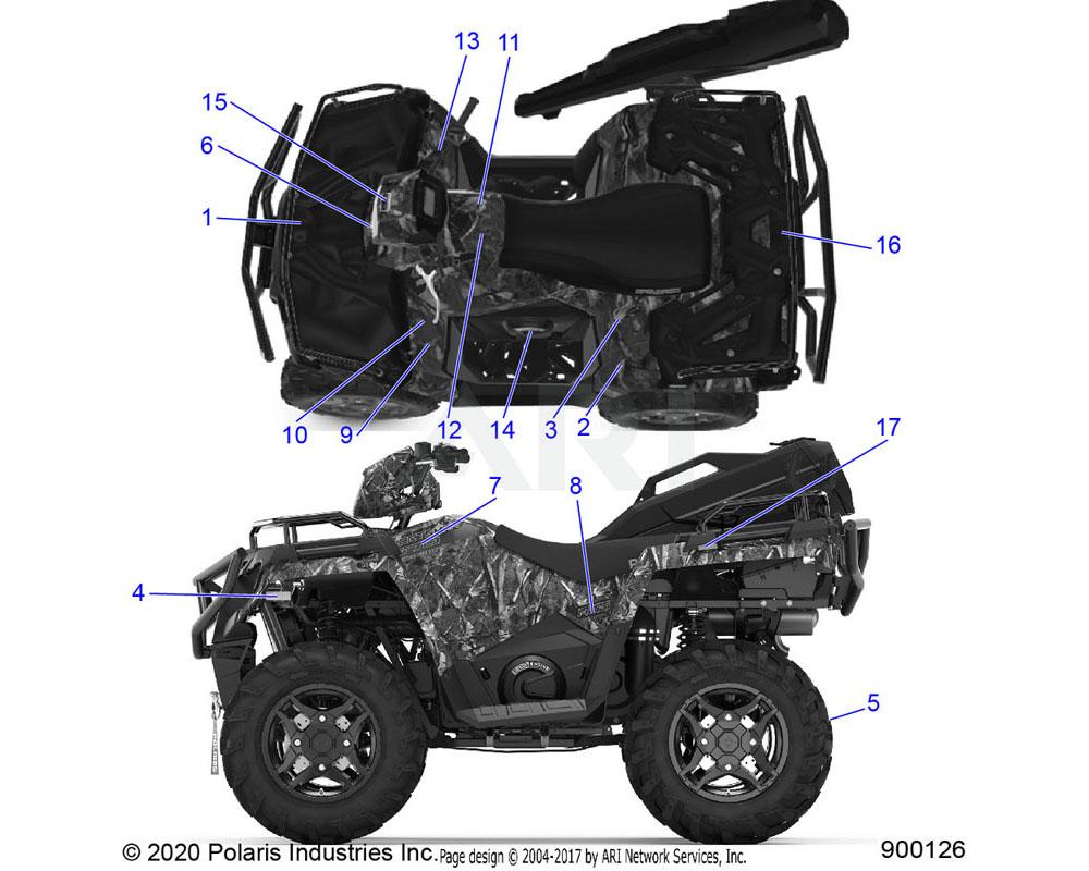 Polaris OEM 7184312 DECAL-SIDE, AWD, GOLD, LH