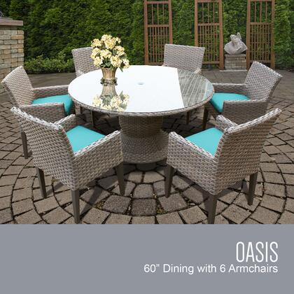 Florence Collection FLORENCE-60-KIT-6DCC-ARUBA Patio Dining Set with 1 Table   6 Arm Chairs - Grey and Aruba