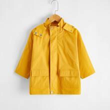 Mantel mit Taschen Klappe und Kapuze