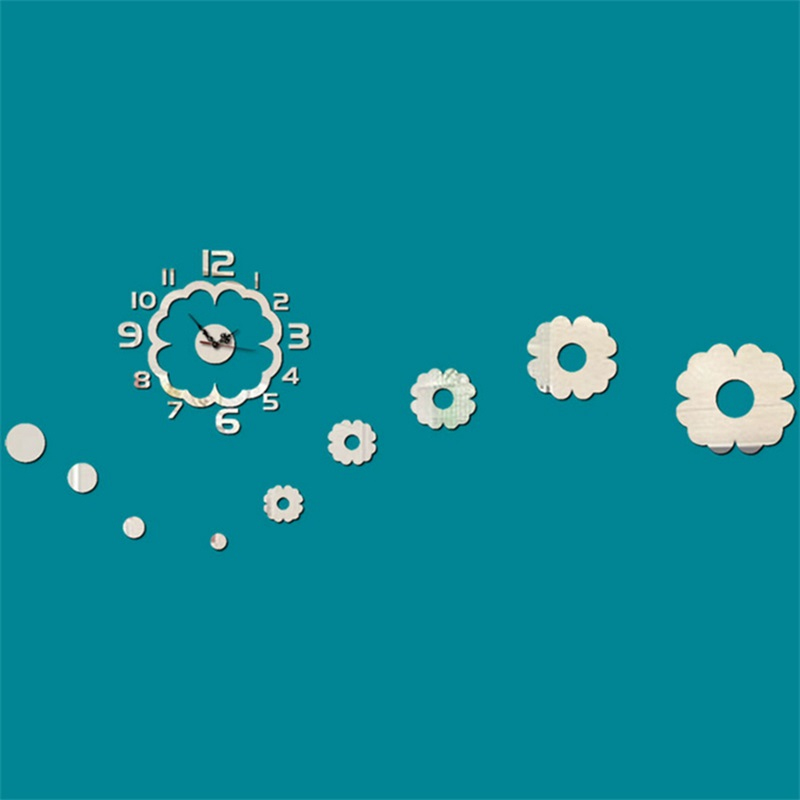 Flower Pattern 3 Color Simple Design 3D Acrylic DIY Specular Mute Wall Clock