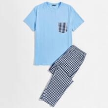Men Pocket Front Top & Gingham Pants PJ Set