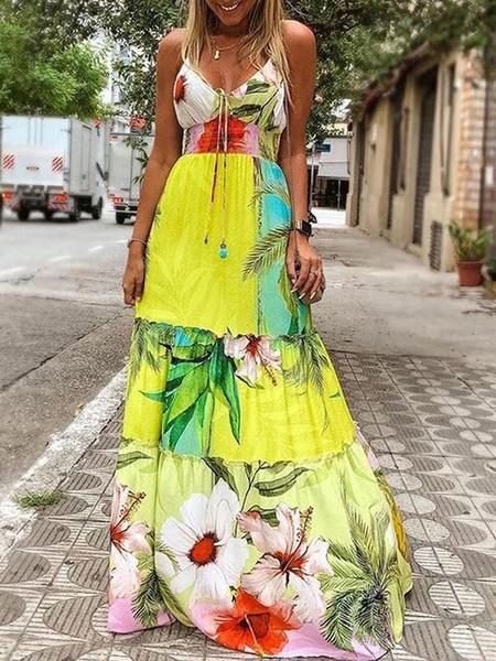 Milanoo Vestidos largos Sin mangas Vestido largo de poliester con cuello bateau amarillo