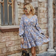 Floral Print Shirred Ruffle Hem Dress