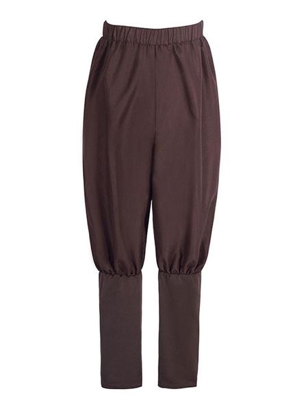 Milanoo Medieval Renaissance Pants Pirate Horseman Peasant Costume Trouser Men Halloween