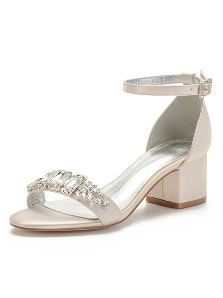 Milanoo Wedding Shoes White Satin Rhinestones Pointed Toe Ankle Strap Chunky Heel Bridal Shoes