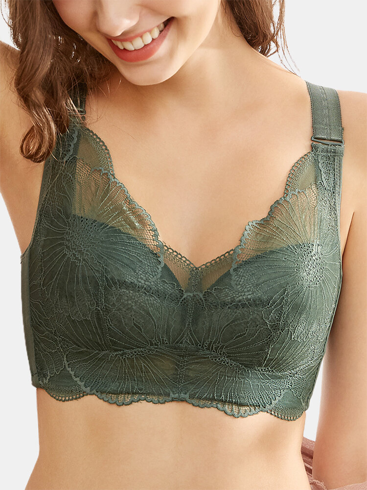 Women Pure Color Lace Gather Wireless Breathable Back Closure Bra