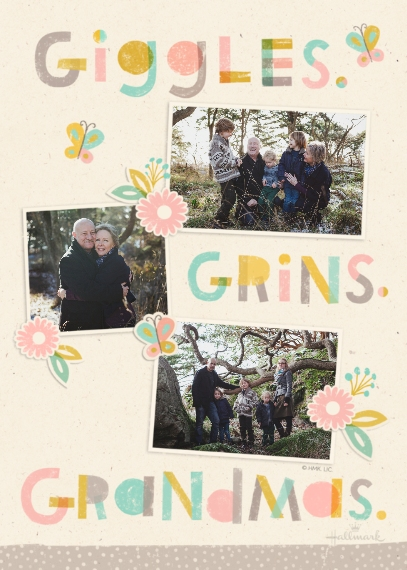 Mother's Day Cards 5x7 Folded Cards, Standard Cardstock 85lb, Card & Stationery -Giggles, Grins, Grandmas