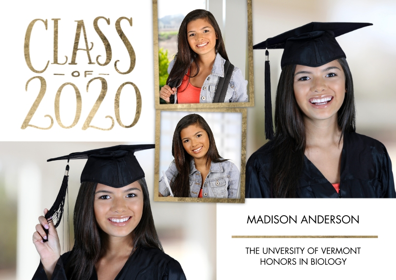 2020 Graduation Announcements 5x7 Cards, Standard Cardstock 85lb, Card & Stationery -Grad Class of 2020 Gold Frame by Tumbalina