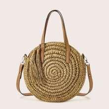 Tassel Decor Straw Satchel Bag
