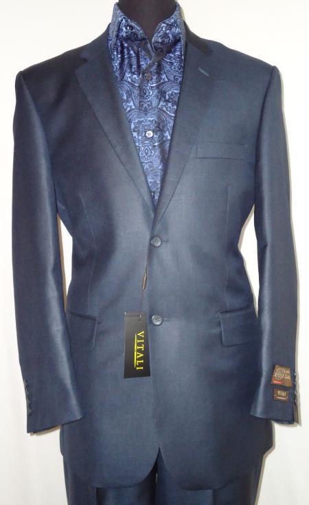 Mens Designer 2Button Shiny Navy Blue Sharkskin Suit