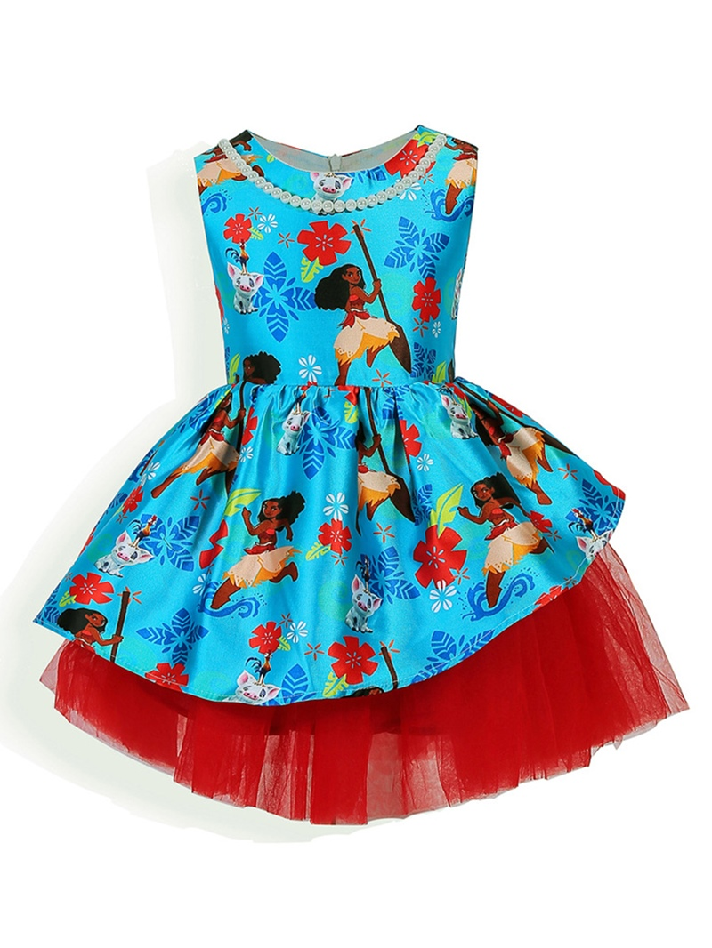 Ericdress Cartoon Print Mesh Patchwork Sleeveless Girl's Layered Dress
